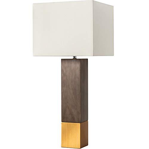 Elegante Tischleuchte PURE NATURE II 67cm mit Schirm aus Baumwolle Massivholz Tischlampe Holz Fuß aus Kiefernholz Nachttischleuchte