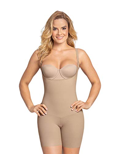 Leonisa Undetectable Edge Moderate Compression Body Shaper with Lace Trim No Roll Up Shorts Butt Lifter Shapewear for Women Beige