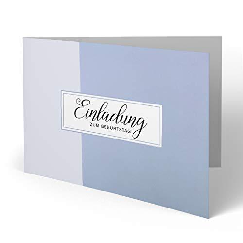 (10 x) Einladungskarten zum Geburtstag Einladung Blau Karte runder Geburtstag mit Bild