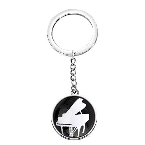 CENWA Piano Lover Gift Music Lover Double-Sided Glass Ball Pendant Keychain Pianist Gift Piano Recital Gift Piano Students Jewelry (Piano K)
