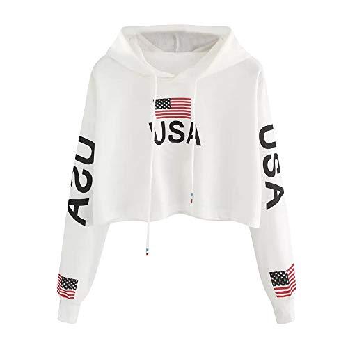 Zulmaliu Girl Sweatshirt, Fashion American Flag Print Long Sleeve Crop Top Hoodies White /