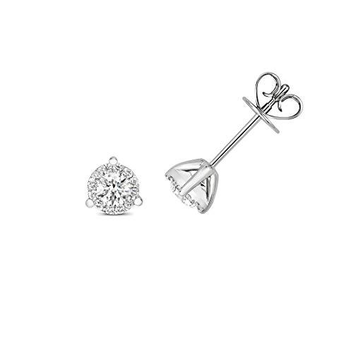 Original 18ct Oro Blanco Diamante Brillante 3 Engaste Tachuelas Nuevo