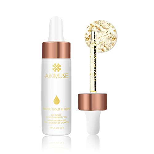 AIKIMUSE Face Oil Primer(1 Count),Makeup Primer,24k Rose Gold Elixir,Skin Beauty Oil Essential,For Use Under Makeup or as a Face Oil Skin Moisturizing Product
