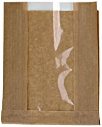 """PackNWood 210SVIS2818 Brown Kraft Bag with Window - 11 x 7.1 x 2.8"""" - 1000 per case"""