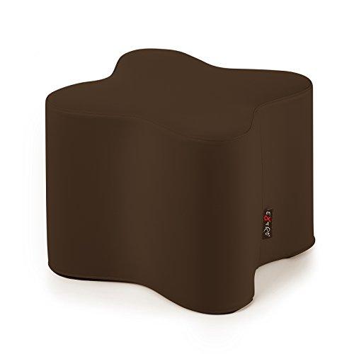 LEON POUF MARRON simili cuir L. CM. 48 h.cm.42 INTÉRIEUR EN POLYURÉTHANE LAMPO SUR LE FOND -LAVABLE-AMOVIBLE-UTILE POUR RALLONGE, SIÈGE ET TABLE
