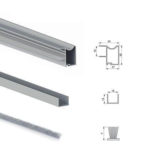 Emuca - Sistema corredero para armario 2 puertas rodadura inferior, espesor 16 mm, cierre suave, tableros no incluidos, perfiles aluminio, Anodizado mate