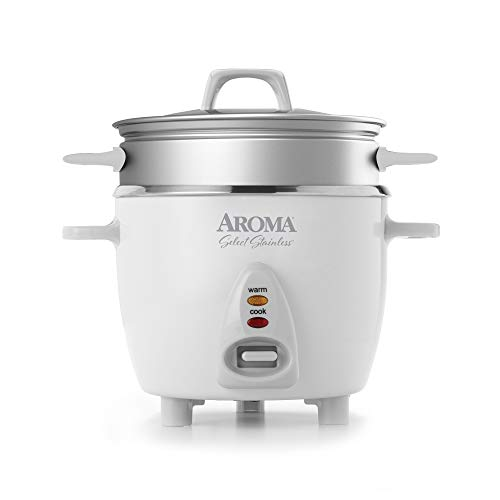 Aroma Housewares 14-Cup Cooked  3Qt Select Stainless Pot-Style Rice Cooker Food Steamer One-Touch Operation Automatic Keep Warm Mode White ARC-757-1SG