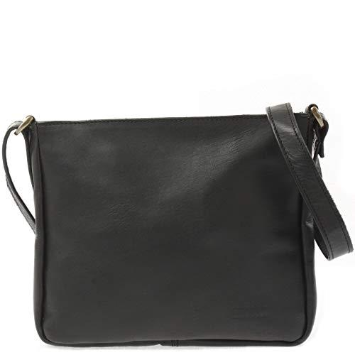 LECONI Umhängetasche Schultertasche Leder Freizeittasche für Damen und Herren kleine Ledertasche 26x22x3cm schwarz LE3058-wax