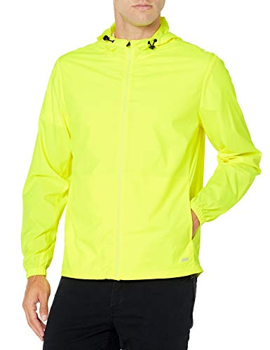 Amazon Essentials Packable Water-Repellant Run Jacket Outerwear-Jackets, Giallo Fluo, 58-61