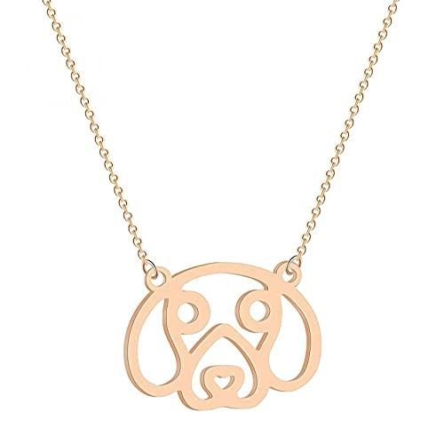 QiuYueShangMao Collar con Colgante en Forma de Contorno de Cara de Perro Beagle, joyería de Animales para Amantes de los Perros, Regalo para niños y niñas Personalizadas Collar Parejas Collar