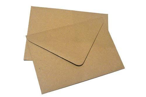 100 x C6 schlichte Briefumschläge, meliert, aus recyceltem Packpapier, Naturbraun, 114 x 162 mm A6