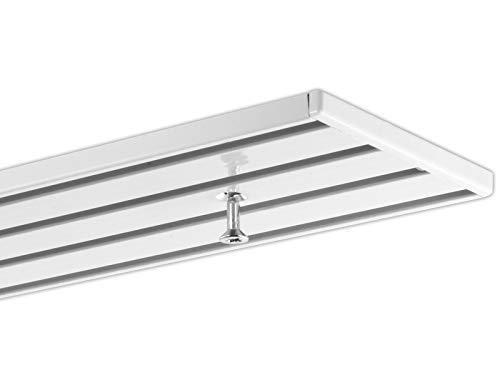 dekoline 2,40 m Gardinenschiene, Aluminium, eckig, weiße glänzende Oberfläche, vorgebohrt 4-Lauf - ungeteilt