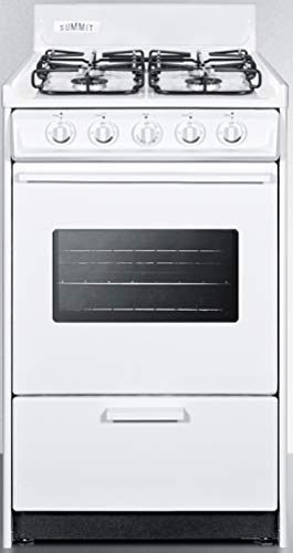 """Summit Appliance WTM1107SW 20"""" Wide Gas Range in White with Four Sealed Burners, Oven Window, Light, Push-to-turn Burner Knobs, Oven Racks, Recessed Oven Door and Electronic Ignition"""