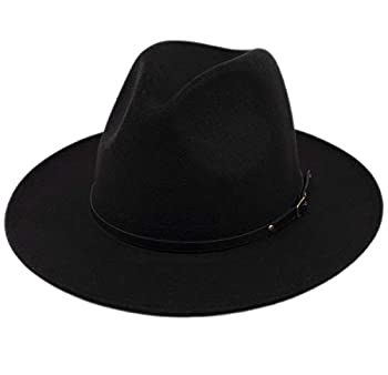 Lanzom Womens Classic Wide Brim Floppy Panama Hat Belt Buckle Wool Fedora Hat  One Size Black