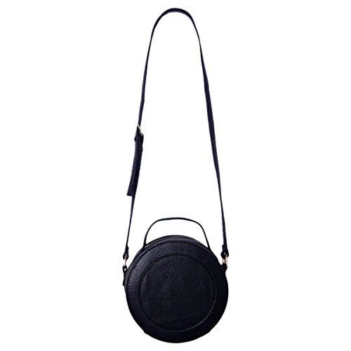 Mode Double Imperméable à L'eau De L'épaule Sac Portable Petit Rond Sac Messenger Sac Cosmétique Couleur Unie,02-20*20*12cm