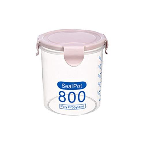 Bestonzon Boîte de conservation hermétique en plastique étanche avec couvercles de verrouillage Convient pour céréales, farine, sucre, riz (rose 800 ml)