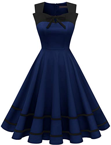 DRESSTELLS Damen 50er Jahre Pinup Rockabilly Petticoat Kleid Polka Dots Retro Swing Kleid Navy 2XL