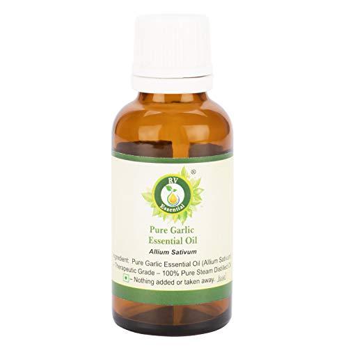 R V Essential Reines Knoblauch Ätherische Öl 10ml (0.338 Unzen) - Allium Sativum (100{49ceda54bbce129262d4c5433d3adeb325ba74aad01f6d82c4c5ed2c53349de1} reiner und natürlicher Dampf destilliert) Pure Garlic Essential Oil