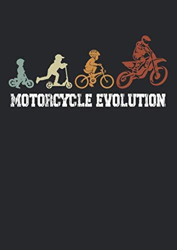 Notizbuch A4 punkte mit Softcover Design: Motorrad Evolution Vintage Geschenk Motorradfahrer Spruch: 120 dotted (Punktgitter) DIN A4 Seiten