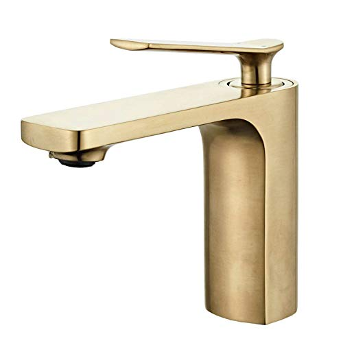 Modern Single Handle Bathroom Basin Faucet Laundry Vanity Sink Faucet Brushed Nickel Gold Finish Lavatory Faucet