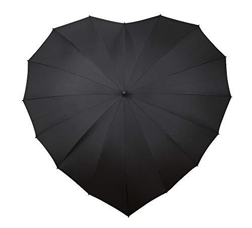 VON LILIENFELD Regenschirm Sonnenschirm Brautschirm Hochzeitsschirm Herz schwarz
