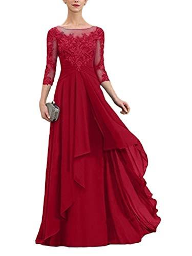 Minetom Damen Spitzenkleider Hochzeit Chiffon Abendkleider Elegant 3/4 Ärmel Langes Kleid Plissee Maxikleider Cocktail Party Ballkleider A Rot 48