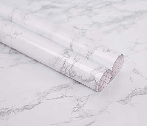 Marble Self Adhesive Paper 24' X 78.7' Granite Look Effect Peel and Stick Paper Decorative Self-Adhesive Film Marble Gloss Vinyl Film for Kitchen Cabinet