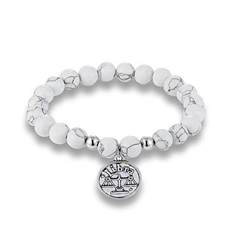 Pulsera Joyas Bracelet Natural White Stone Beads 12 Constellation Horoscope Stone Beads Charm Yoga Bracelet Friendship Gift Libra