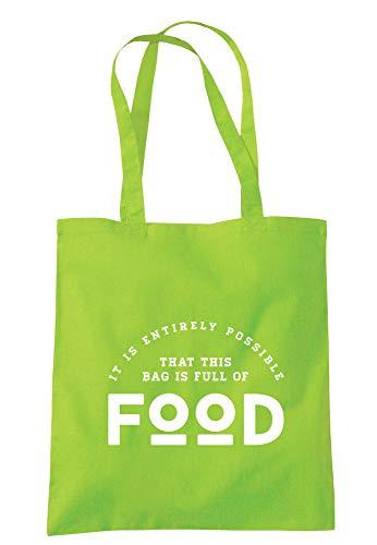 illustratedidentity It Is Entirely Possible That This Bag Is Full Of Food, Tragetasche 37,5 x 42 cm mit langen Griffen, Grün - lindgrün - Größe: Einheitsgröße