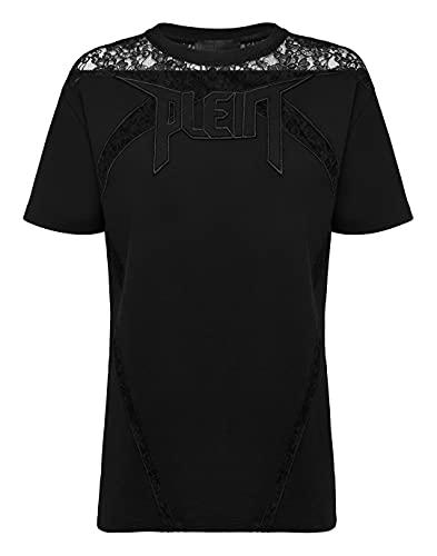 Philipp Plein Femenino T-Shirt Round Neck SS Lace Negro Small