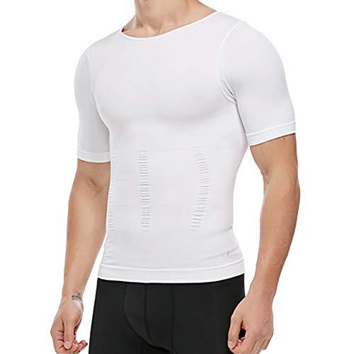 Men's Slimming Body Shaper Vest Undershirt Abs Abdomen Slim Tank Top (White, X-Large)