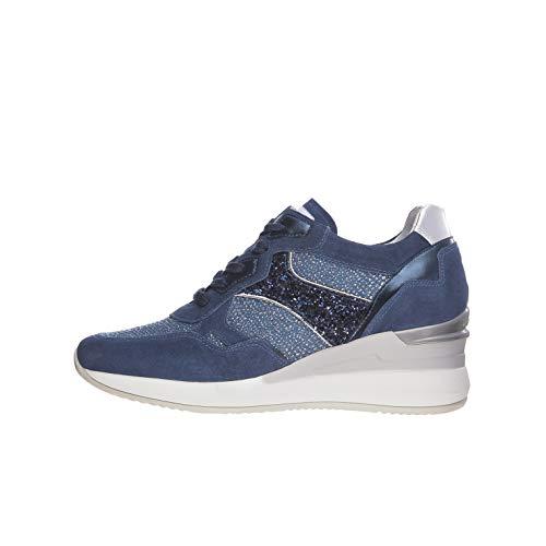 Nero Giardini E010465D Sneakers Donna in Pelle, Camoscio E Tela - Acqua 37 EU