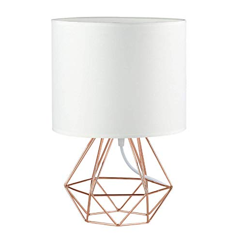 Modern Vintage Rose Gold Desk Table Lamps for Boys Kids Living Room Bedroom - Minimalist Industrial Style DIY Bedside Night Light Metal Hollowed Out Base Fabric Shade - Ecopower Geometric Cage Light