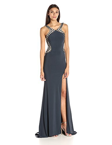 JVN by Jovani Women's Open Back Jersey Prom Gown, Charcoal, 4