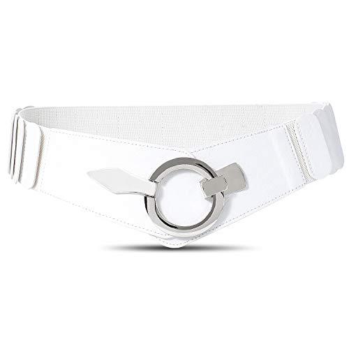 JasGood Damen Breiter Elastischer Taillengürtel, Mode Vintage Hüftgürtel mit Silberner Ring-Schließe, Weiß, L