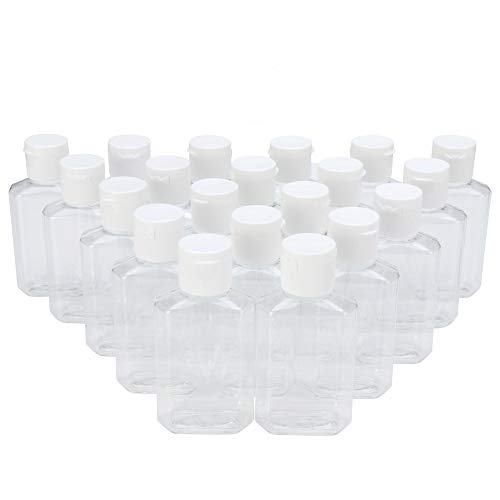 MHO Containers | empty, clear, refillable flip-cap bottles - TSA-approved, 2 ounce (60 milliliter)- set of 20