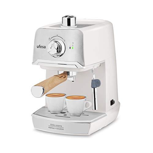 Ufesa CE7238 Cream - Cafetera Espresso, para preparar Cappuccino e infusiones, Bomba a presión de 20 bares, Sistema tradicional con café molido, Monodosis, White/Cream