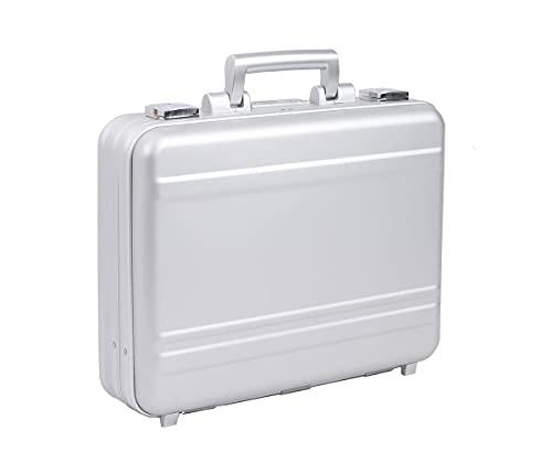 Urecimy Maleta de lujo de aluminio portátil caso 17 pulgadas caja de ordenador con cerradura maletines para hombres - plata 21.7X15.7X4.5 pulgadas