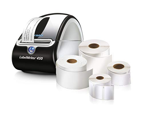 DYMO LabelWriter 450 Super Bundle - FREE Label Printer with 4 rolls of Shipping, File Folder and Multi-Purpose Labels (1957331),Black/Silver