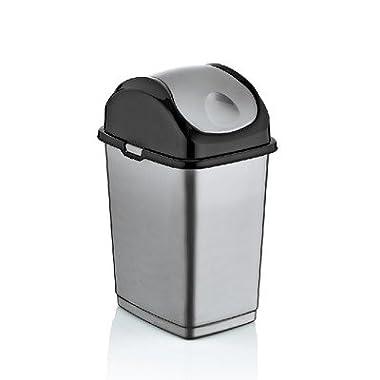 3 Quart Mini Slim Trash Can (Gray and Black) (gray)