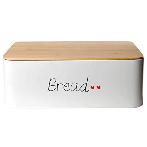 DRULINE Brotkasten | Brotbox | Brotkiste | Brot | Aufbewahrungsbox | Brotkorb | Brotbehälter | Bambusdeckel | Frischhaltebox | Küche | Büro | Picknick | Hochwertig verarbeitetes Metallblech | Großer Stauraum | L x B x H 30 x 18 x 16 cm | Weiß