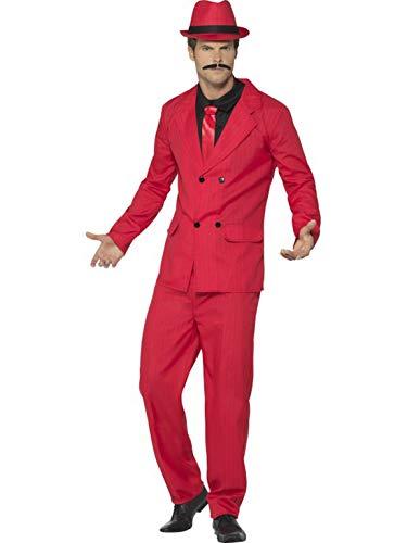Confettery - Herren Männer Gangster Kostüm im Nadelstreifen Anzug Al Capone Stil mit Jacket, Hose, Hemd, Krawatte und Hut, perfekt für Karneval, Fasching und Fastnacht, M, Rot