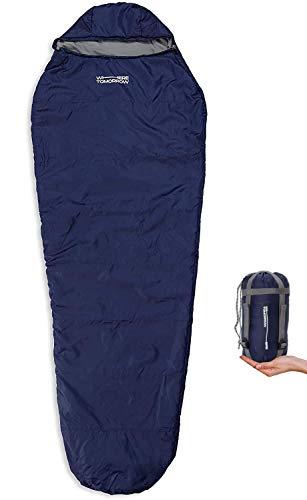 WhereTomorrowOutdoor Exterior Saco de Dormir | Pequeño y Suave 220 x 80 cm x 50 cm, Incluye Bolsa para transportarlo | Embalado 26 x 14 cm | 700g | Azul Marino