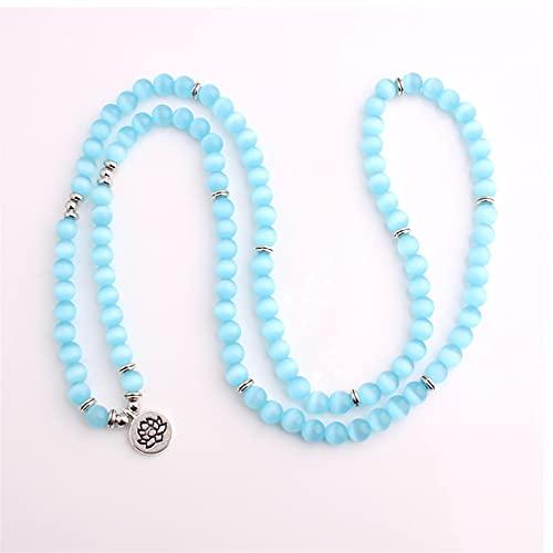 7 Chakras Pulsera de cuentas de piedra for mujeres, azul natural ópalo pulsera de piedra elasticidad plateado loto colgante pulsera moda afortunado brazalete boho joyería regalo para Pareja novia mamá