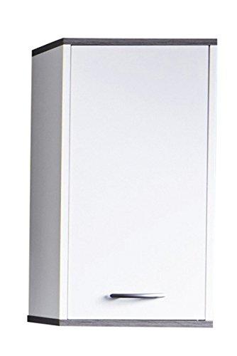 Trendteam hoge badkamerkast melamine Hangkast. 32 x 60 x 21 cm Wit, afzetting rookzilver decor