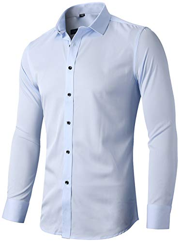 INFlATION Herren Hemd aus Bambusfaser umweltfreudlich Elastisch Slim Fit für Freizeit Business Hochzeit Reine Farbe Hemd Langarm,DE L (Etikette 42),Hellblau