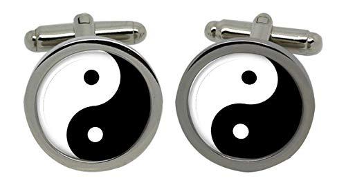 Yin et yang-boutons de manchette pour homme avec boite cadeau chrome