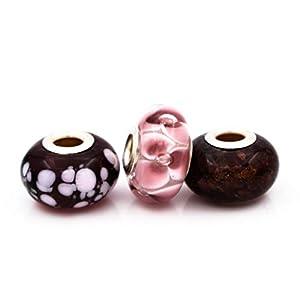3 Beads Set aus Murano Glas und 925 Sterling Silber kompatible mit Pandora und Trollbeads Armband Amethystfarbe