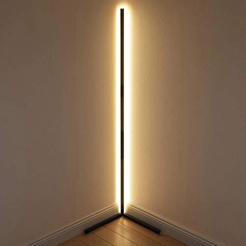 JINGBO Lámparas de pie Atenuación Lámpara, Esquina Simple Lámpara de Esquina LED Modernas Lámpara de pie, de pie Blanca Negra Lámparas de pie Control Remoto RGB,Blanco,Warm Light