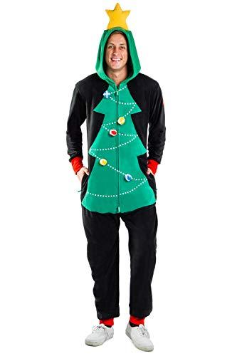 Men's Christmas Game Cozy Jumpsuit - Cozy Christmas Tree Onesie w/Velcro Balls : L